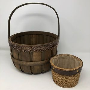 Home Decor, 2 Brown, Wood, Metal & Leather Baskets